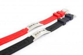 DauerMagnet-Armband Fünf Säulen Optik, Slikonband